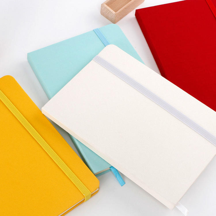product-Custom A5 Thick Hard Cover Plain Journal Linen Notebook With Elastic Band-Dezheng-img-1