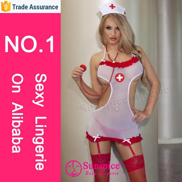 fashion mature women sexy halter mesh see through nurse costume sexy nurse transparent dress