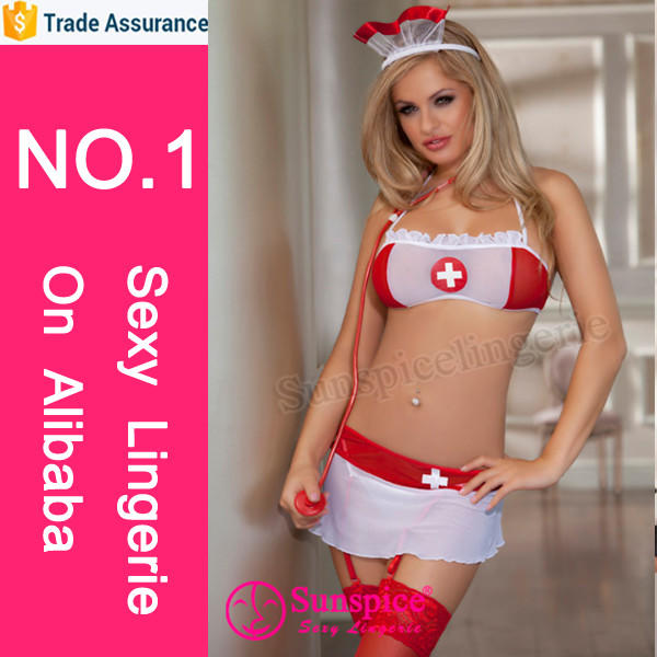 Sunspice sexy lingerie manufacturer new style top quality guarantee nurse sexy costume bra panty