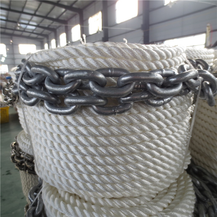 marine ropes with chains, mooring ropes,spliced ropes , 3 strand twisted
