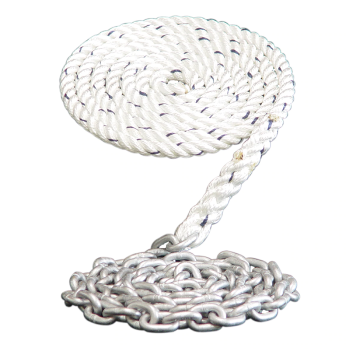 mooring ropes, cordage for yacht, anchor line with chain