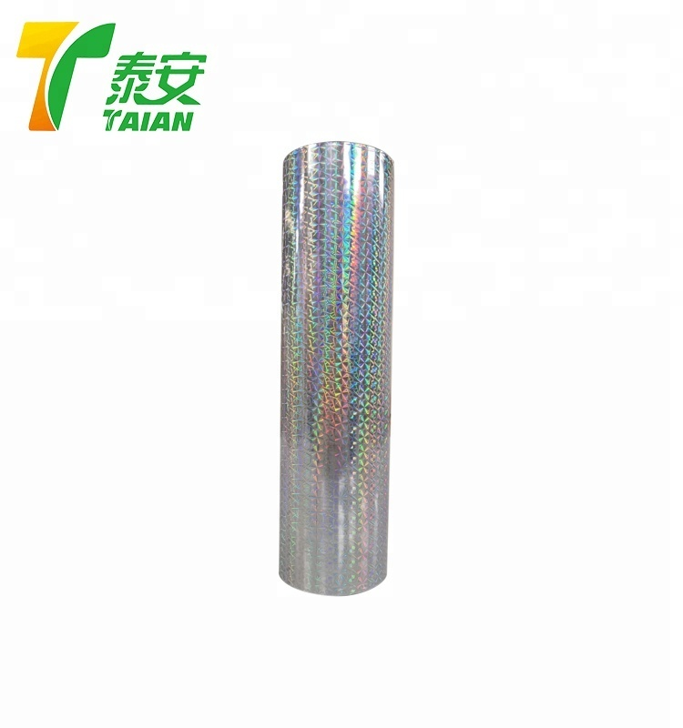 Hot sell rainbow pillar of light Holographic Metallized and Transparent Lamination Film for paper board