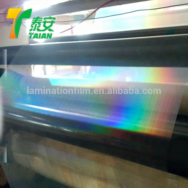 Pet Laser Transparent Plain Holographic Film Holographic Thermal Lamination Film For Paper and sticker