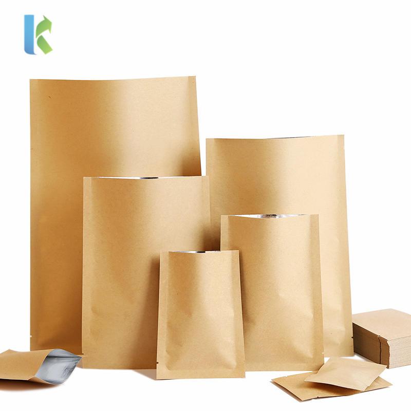 Wholesale Three-Sided Seal Bags Flat Snacks Tea Inner Aluminum Plating Kraft Seal Vacuum Bag