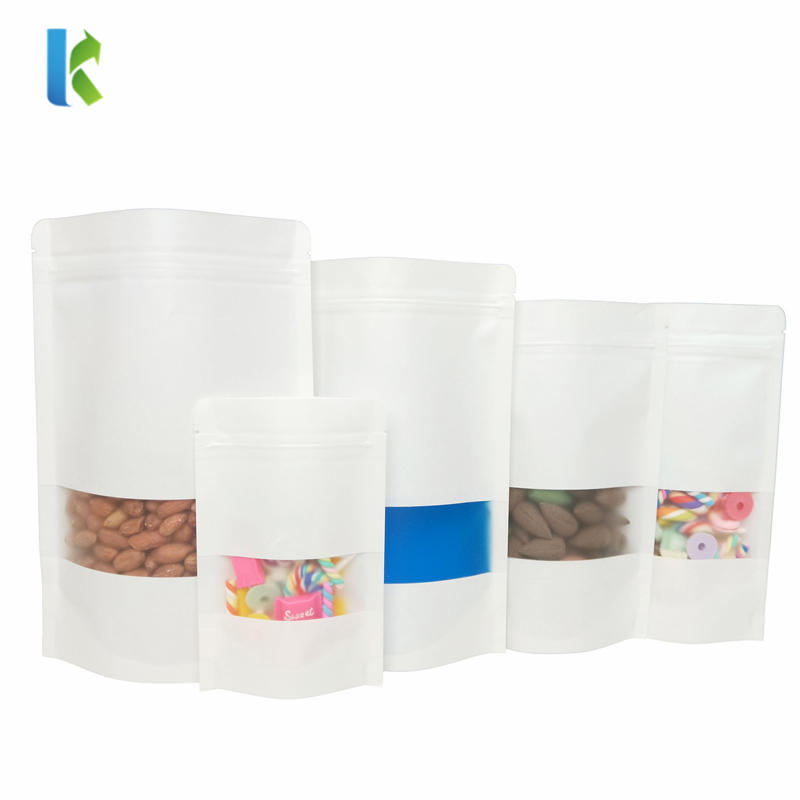 wholesale Custom Logo Stand Up Pouch With Window Kraft White Paper Bag
