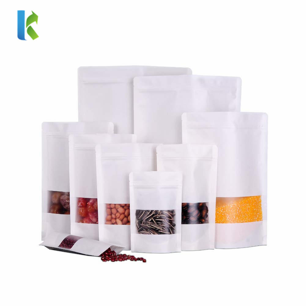 Custom Printed White Doypack Food Pouches Zip Lock Coffee Snack Packaging Bags With Matte Window