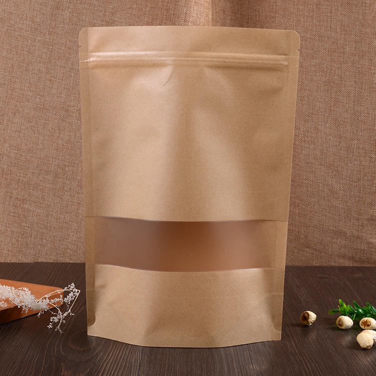 Wholesale Kraft Paper Stand Up Pouch Zip Lock Bag With Matte Window