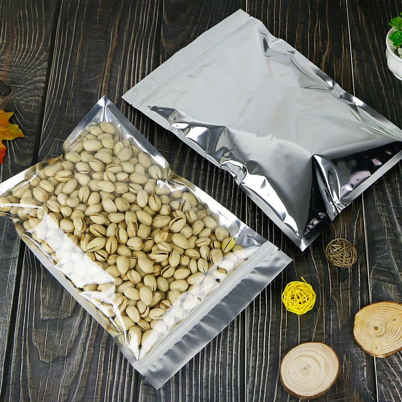 Wholesale Clear Front/Silver Back Flat Aluminum Foil Ziplock Mylar Bags