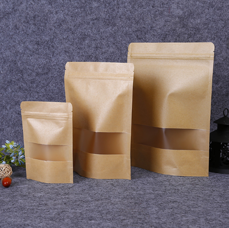 Wholesale Food Packaging Kraft Paper Standup PouchZip Lock Bag With Frosted Window