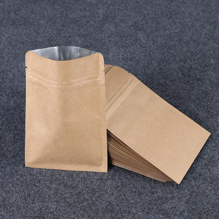 Zipper Kraft Aluminizing Pouch Flat Kraft Paper Bag With Resealable Zip Lock Grip Seal Food Grade Tea Coffee Packaging