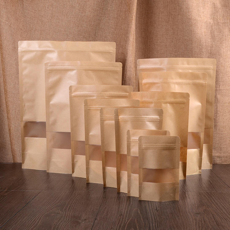Wholesale Food Packaging Kraft Paper Standup PouchZip Lock Bag With Matte Window