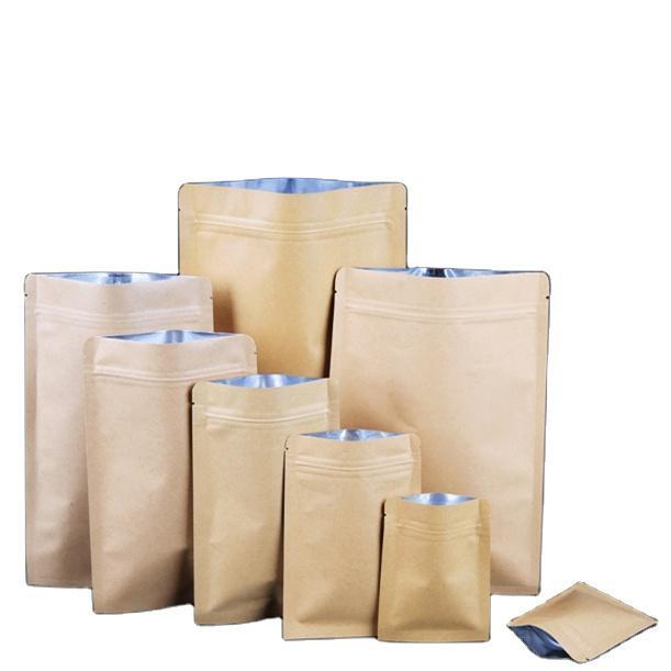 Flat Bottom Kraft Paper Bag Self Sealing Food Packaging Inner Aluminized Film Dry Fruit Seal Zipper Pouch