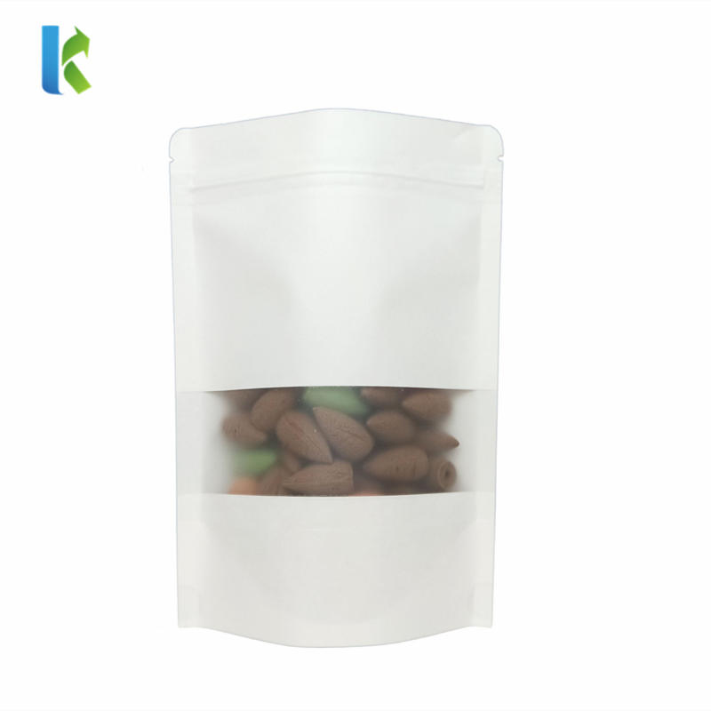 Kolysen Wholesale Stand Up Pouches White Kraft Paper Zipper Snack Bag With Matte Window