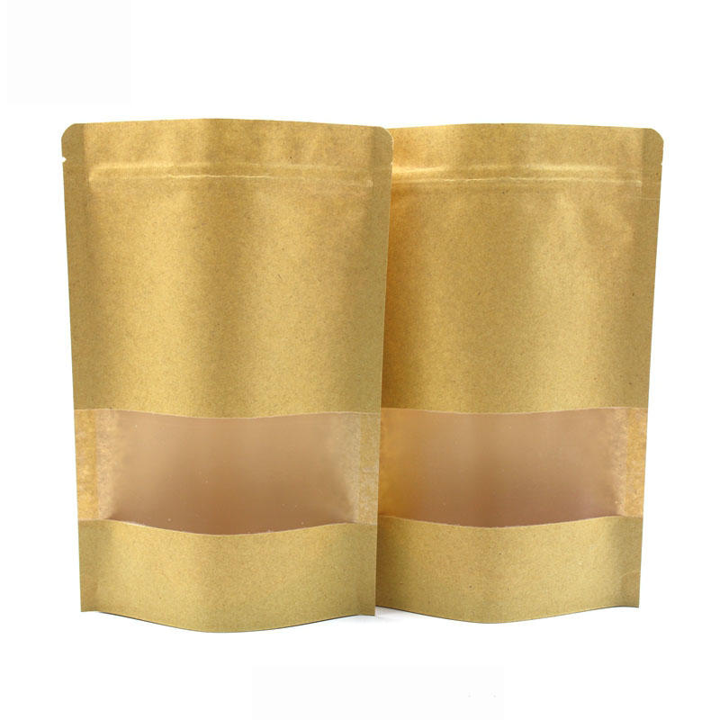 Wholesale Laminating Kraft Paper Standup PouchZip Lock Bag With Matte Window