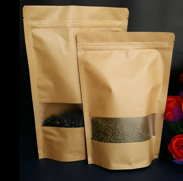 Wholesale Laminating Kraft Paper Stand Up PouchZip Lock Bag With Matte Window