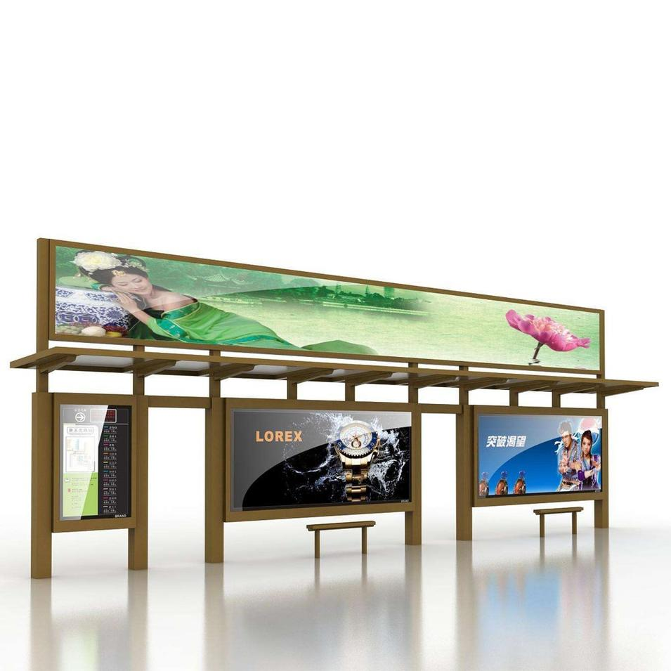 High quality outdoor bus shelters advertising bus station for sale