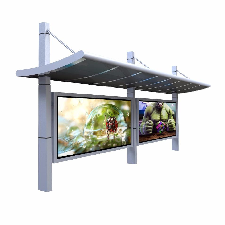 Outdoor Advertising Bus Stop Shelter Steel Structure Design With Light Box