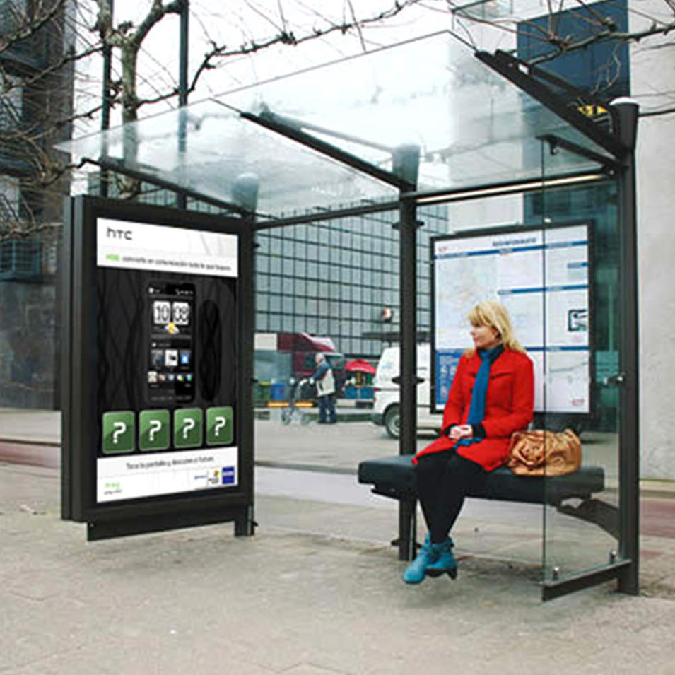 Outdoor stainless steel bus stop shelter with led display and bench