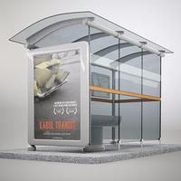 Outdoor Modern Waterproof Adverting Bus Stop Station Shelters