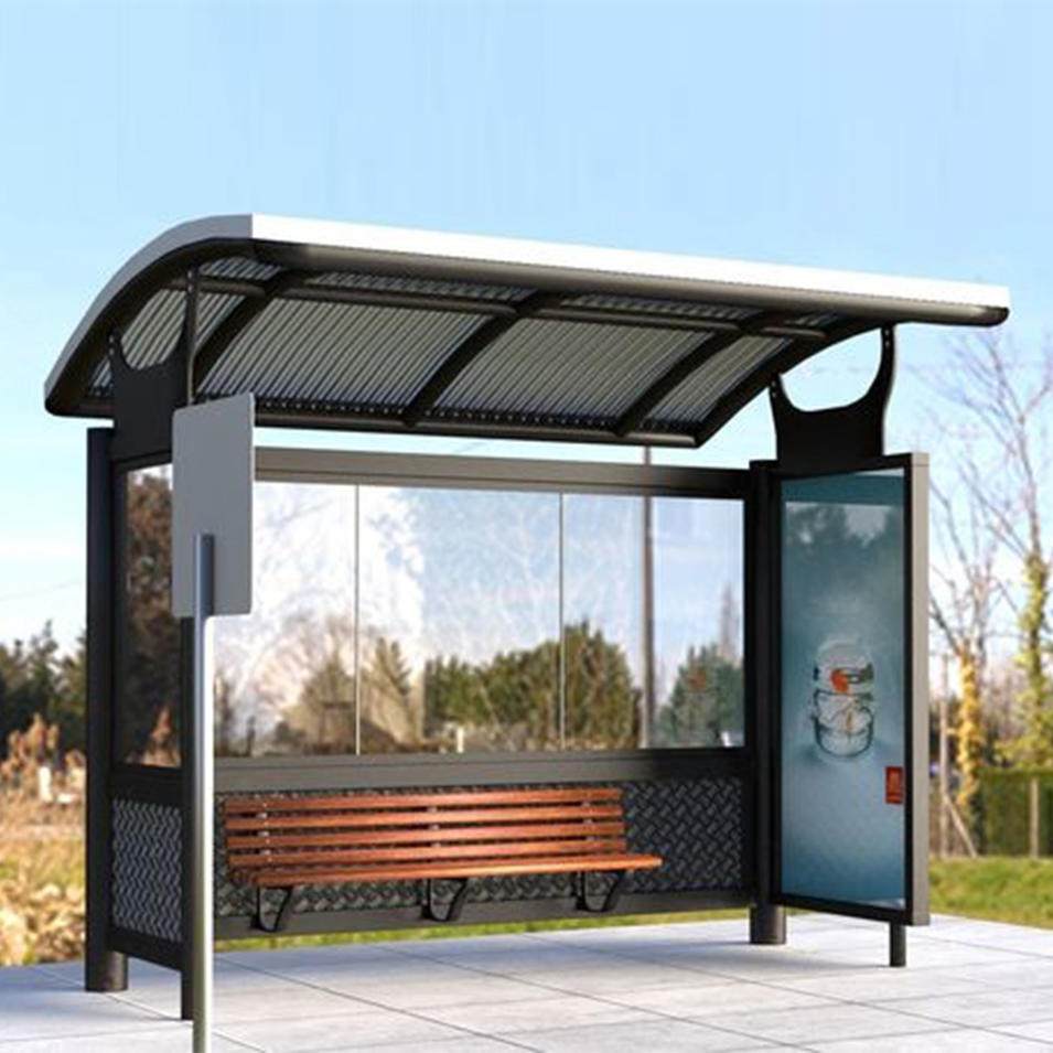 Modern advertising bus stop shelter