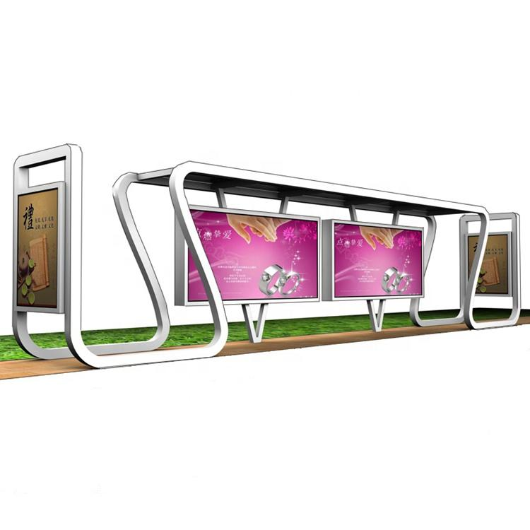 Outdoor furniture city street bus station new design stainless steel bus stop shelter