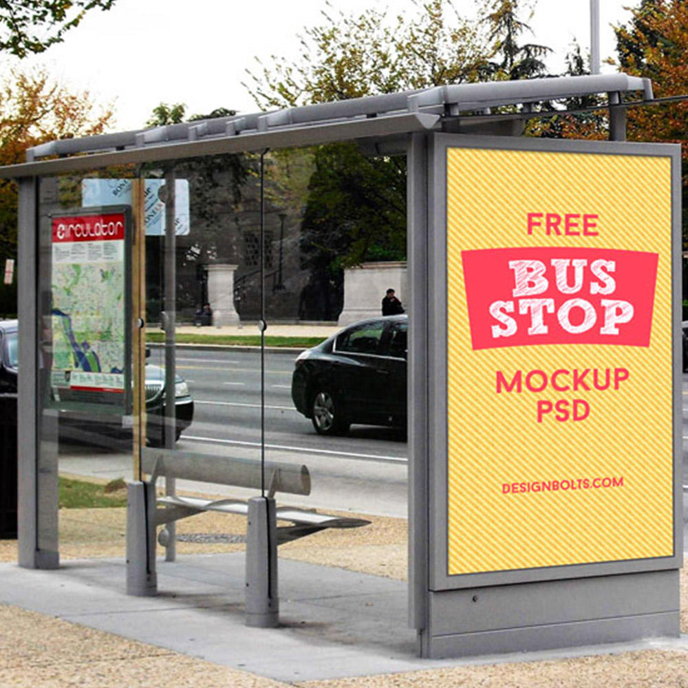 2020 Fashion stainless steel bus stop advertising bus shelter design