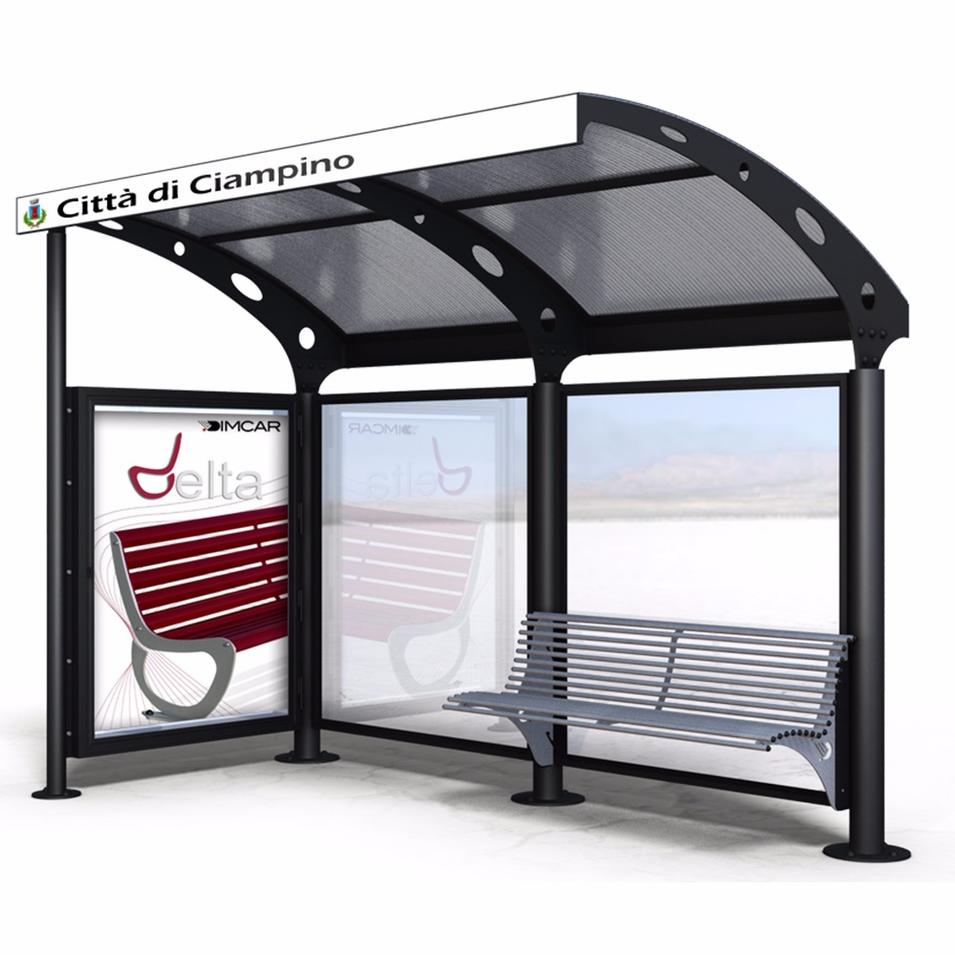 Outdoor funiture bus stop bus shelter with light box for sale