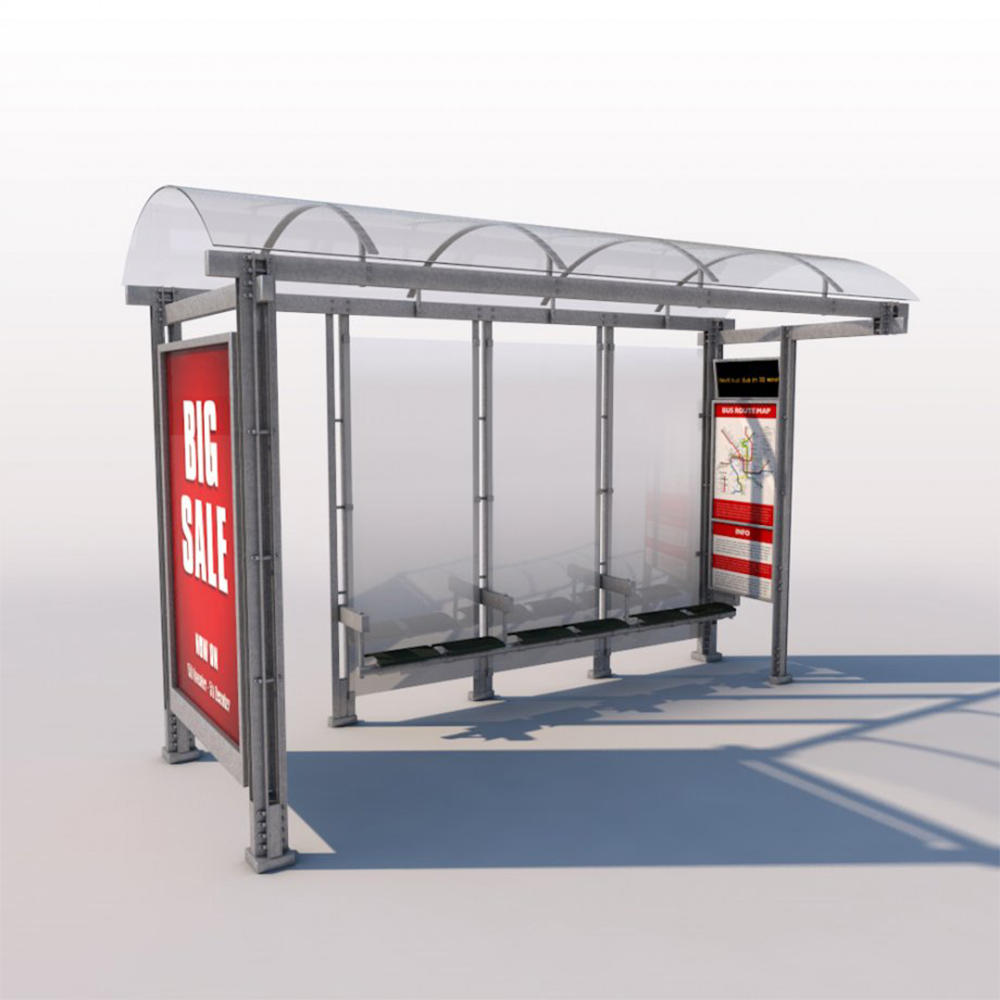 Outdoor Furniture Stainless Steel Bus Station Shelter