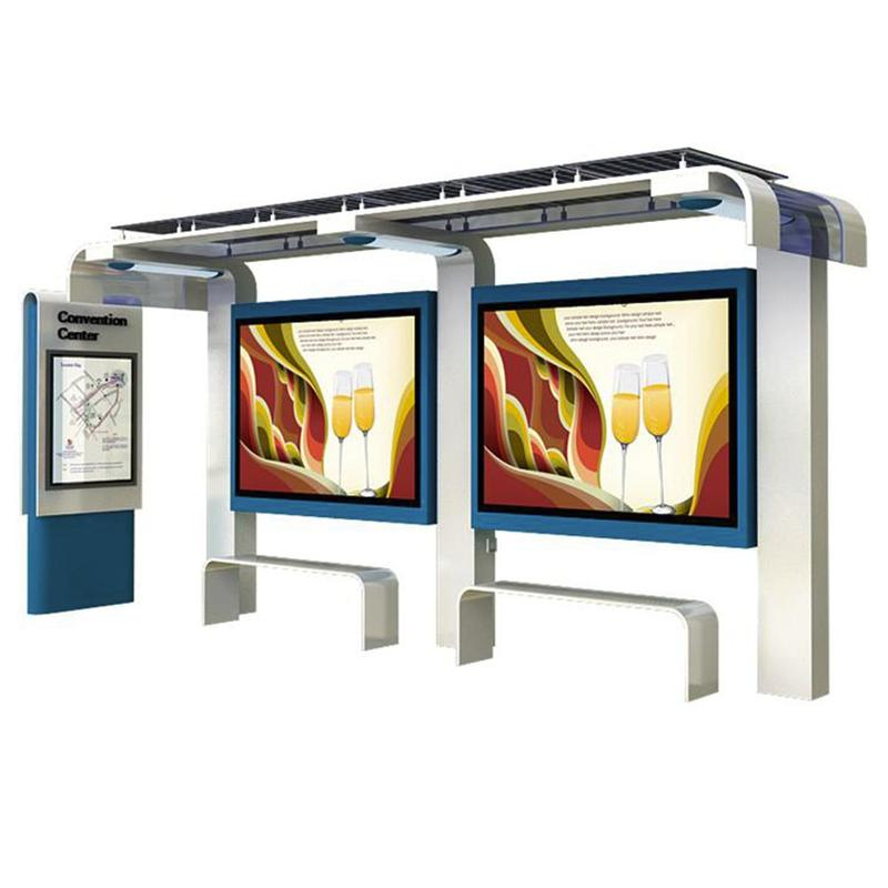 Outdoor furniture smart bus stop shelter for outdoor advertising