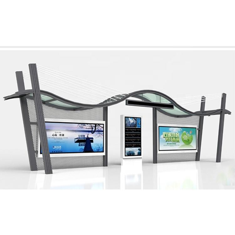 City furniture street bus shelter outdoor advertising stainless steel bus stop station