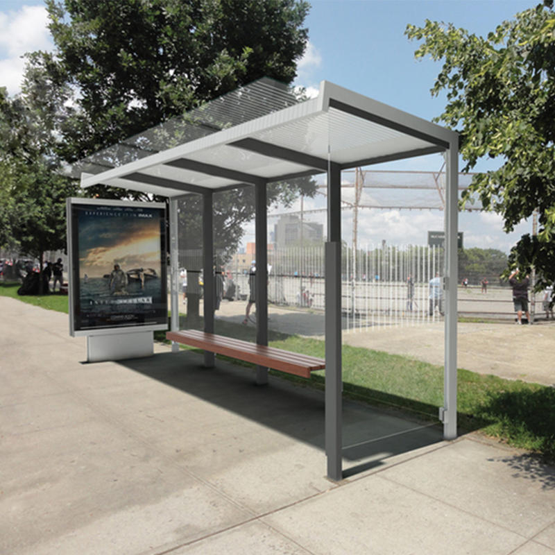 Customized modern stainless steel bus shelter bus stop