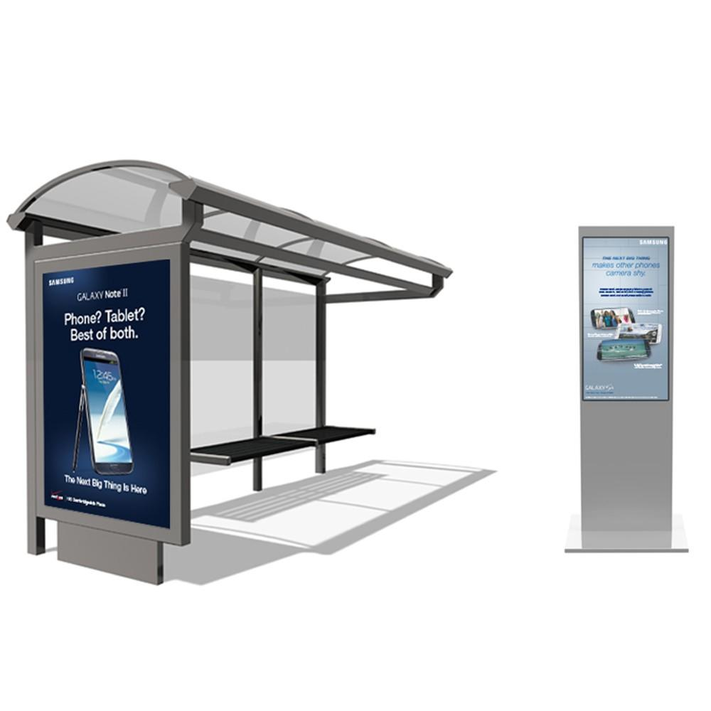 Bus Stop video China Big Outdoor Advertising Screen Bus Stop Box Roofing Material