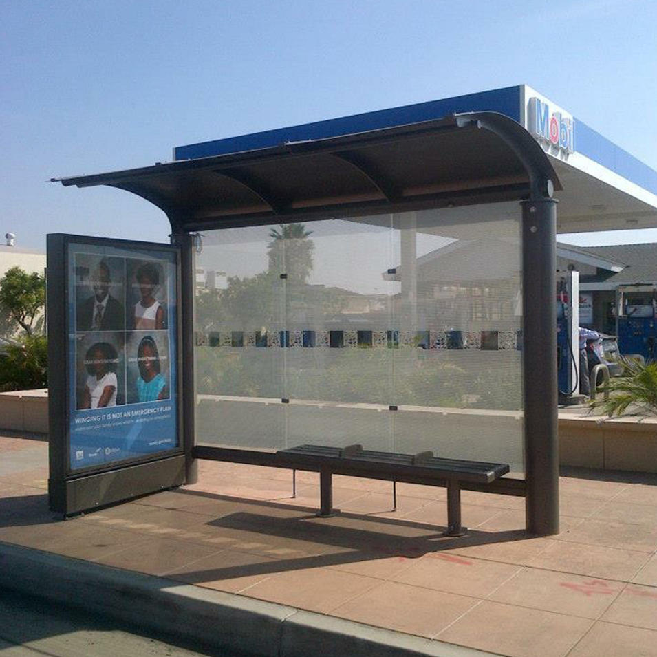 City street furniture modern bus stop shelter with light box for outdoor advertising YEROO