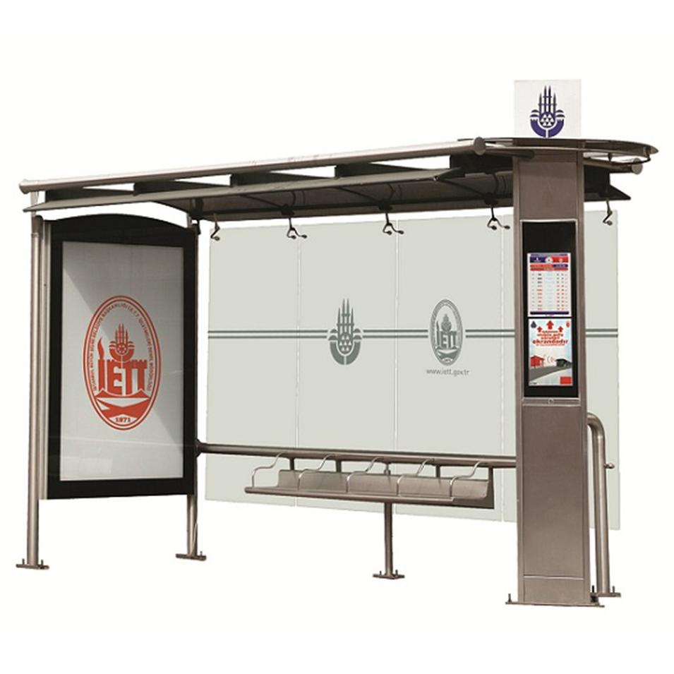 Metal Bus Stop Shelter Install Scrolling System Light Box