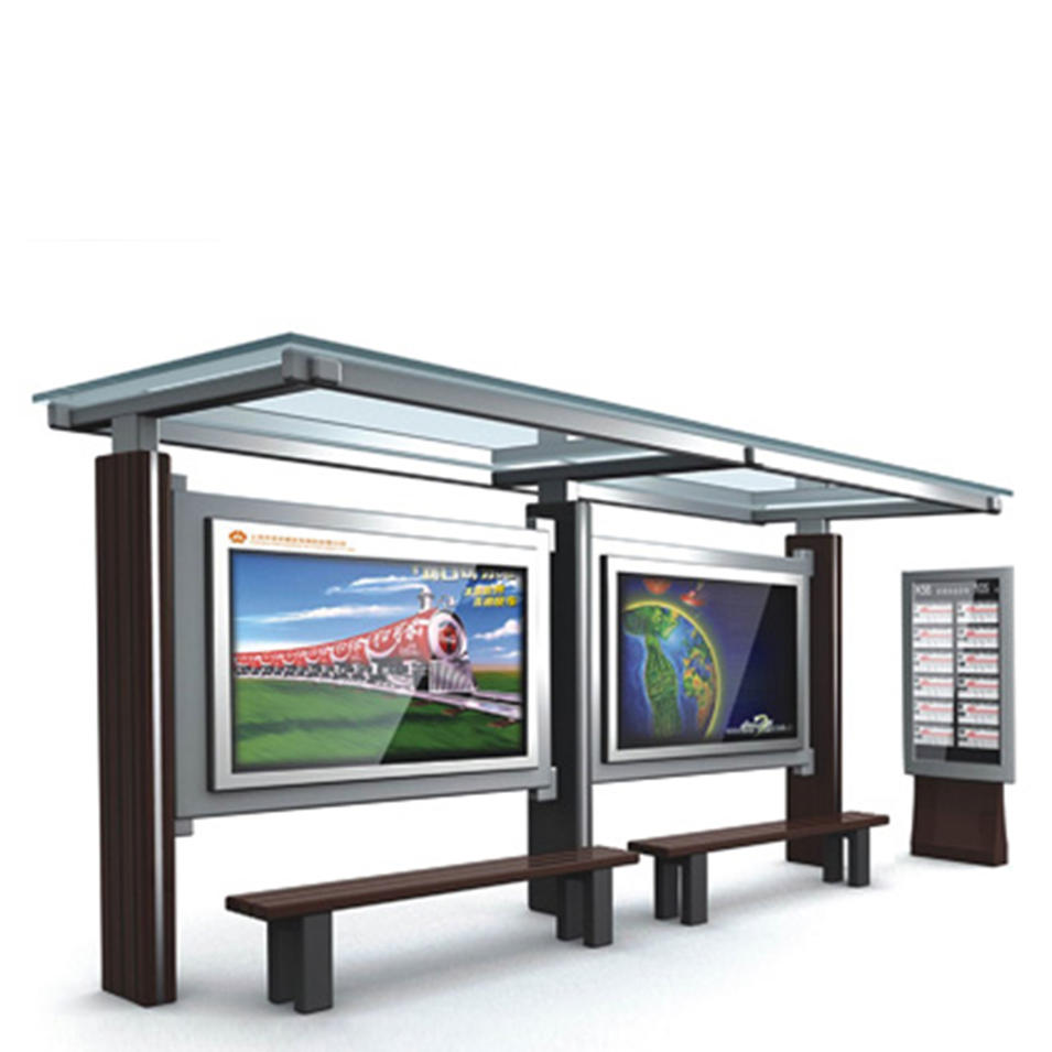 New Design Stainless Steel Bus Stop Shelter with Advertising Light Box