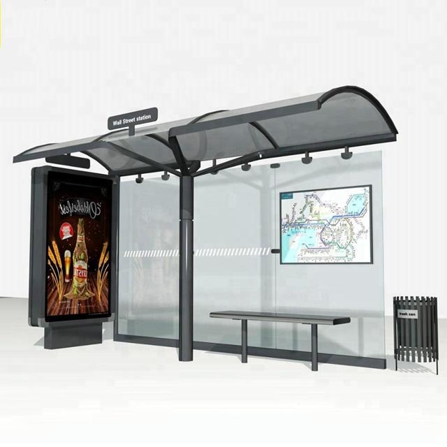 Outdoor Advertising Metal Bus Stop Shelter for Passenger Waiting Bus
