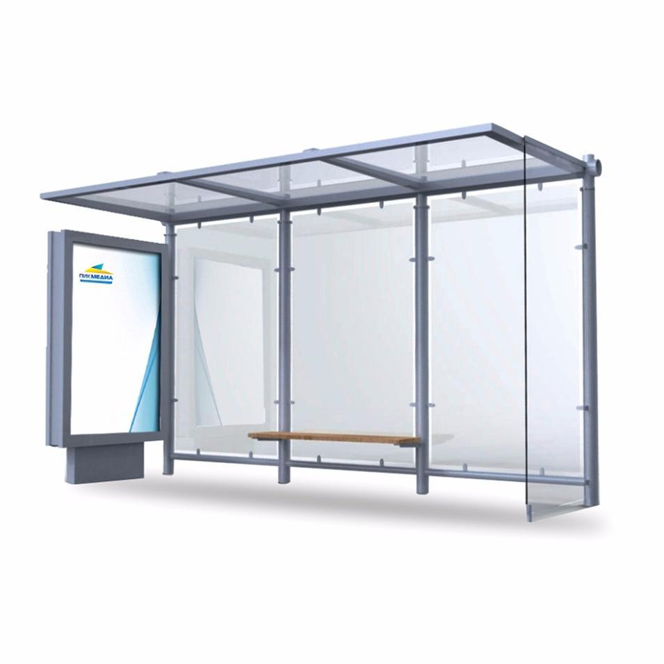 Modern Technology Tempered Glass Frame Bus Stop Shelter