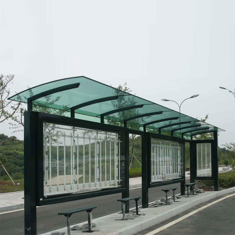 Stainless steel modern bus station shelter design