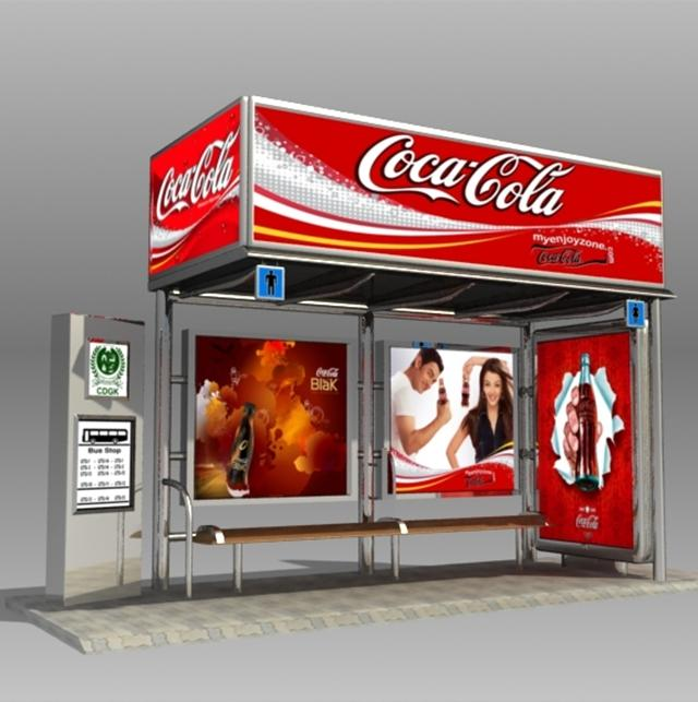 New Design Bus Shelter Stop with LED Display Advertising Billboard