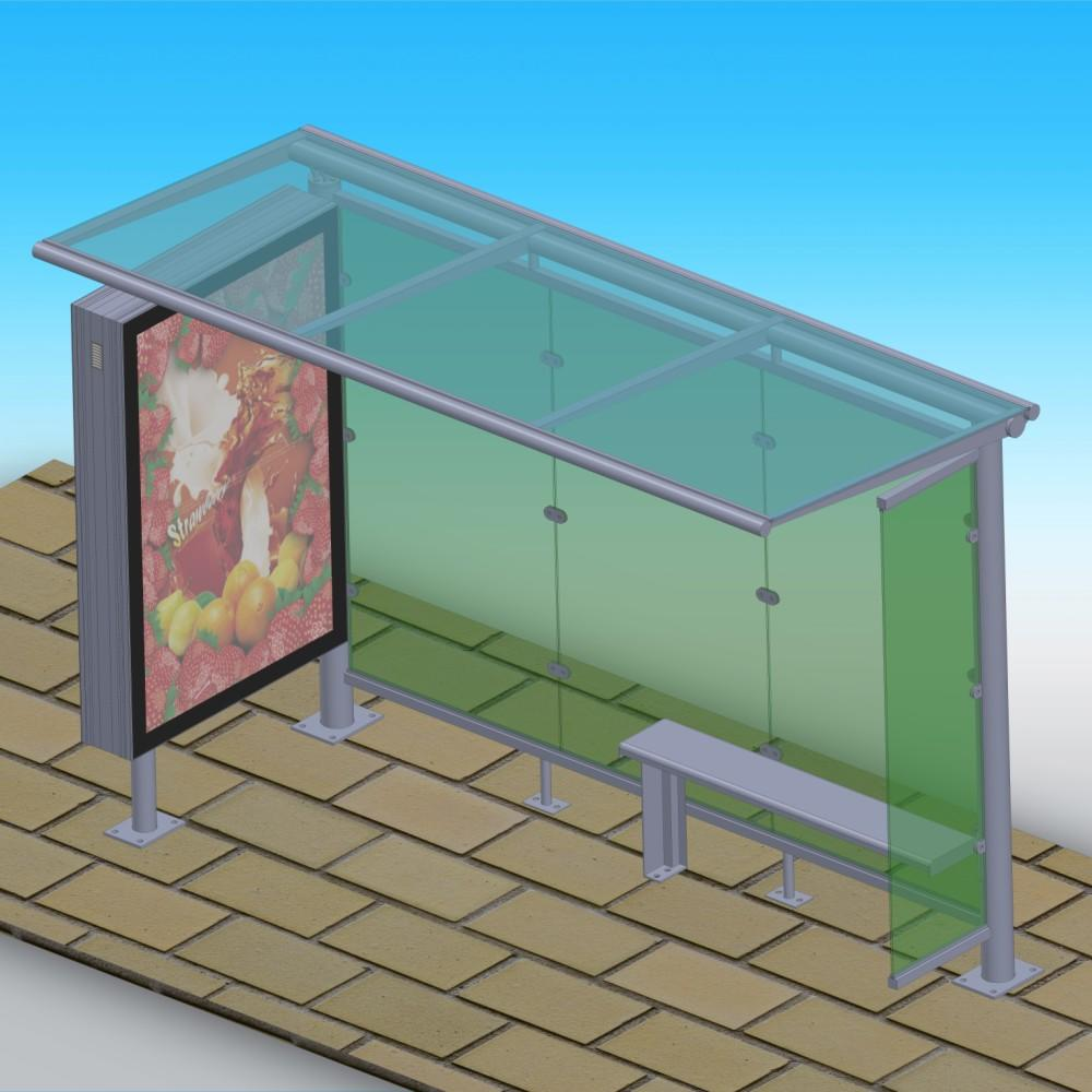 Metal bus stop station with outdoor light box