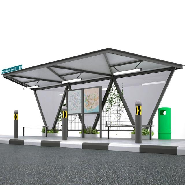 Outdoor Advertising Modern Metal Bus Stop Shelter