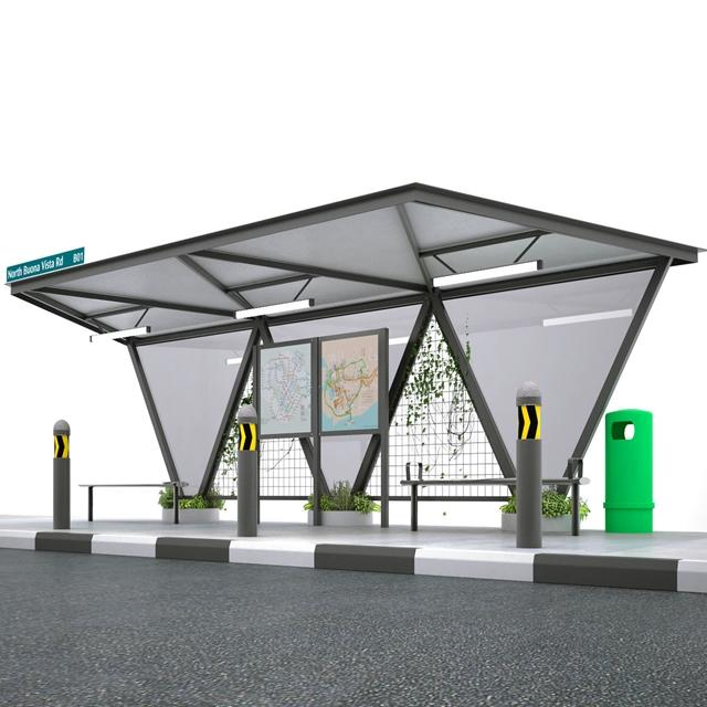 Outdoor Advertising Modern Metal Bus Stop Shelter