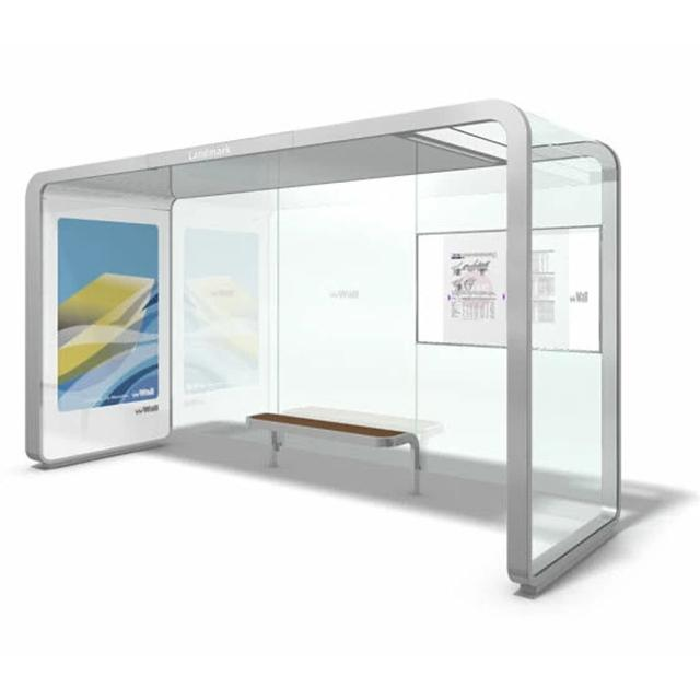 modern design city bus stop shelter Stainless steel Tempered glass bus station