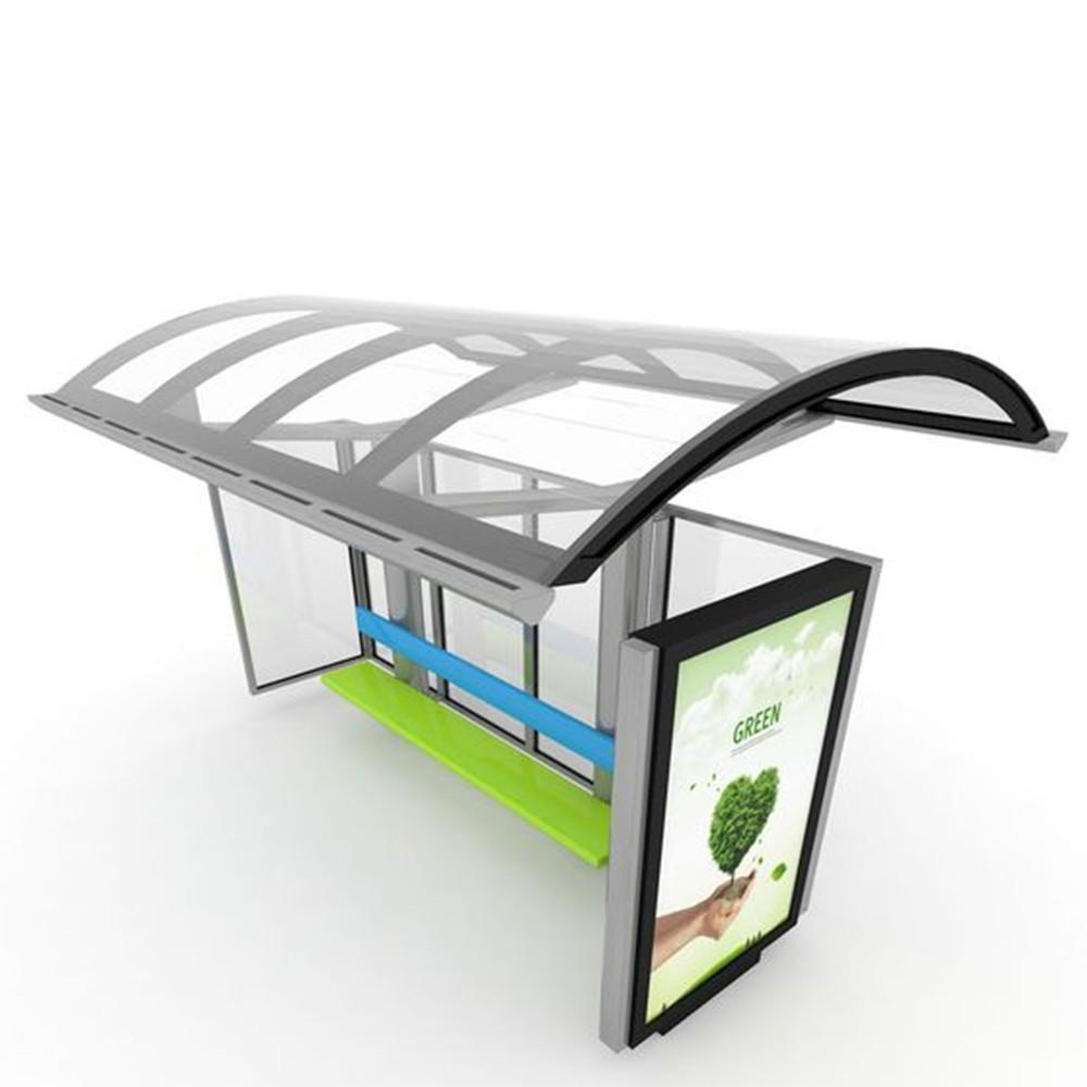 Outdoor Smart Metal Bus Stop Shelters Steel Structure Advertising LED Screen Display