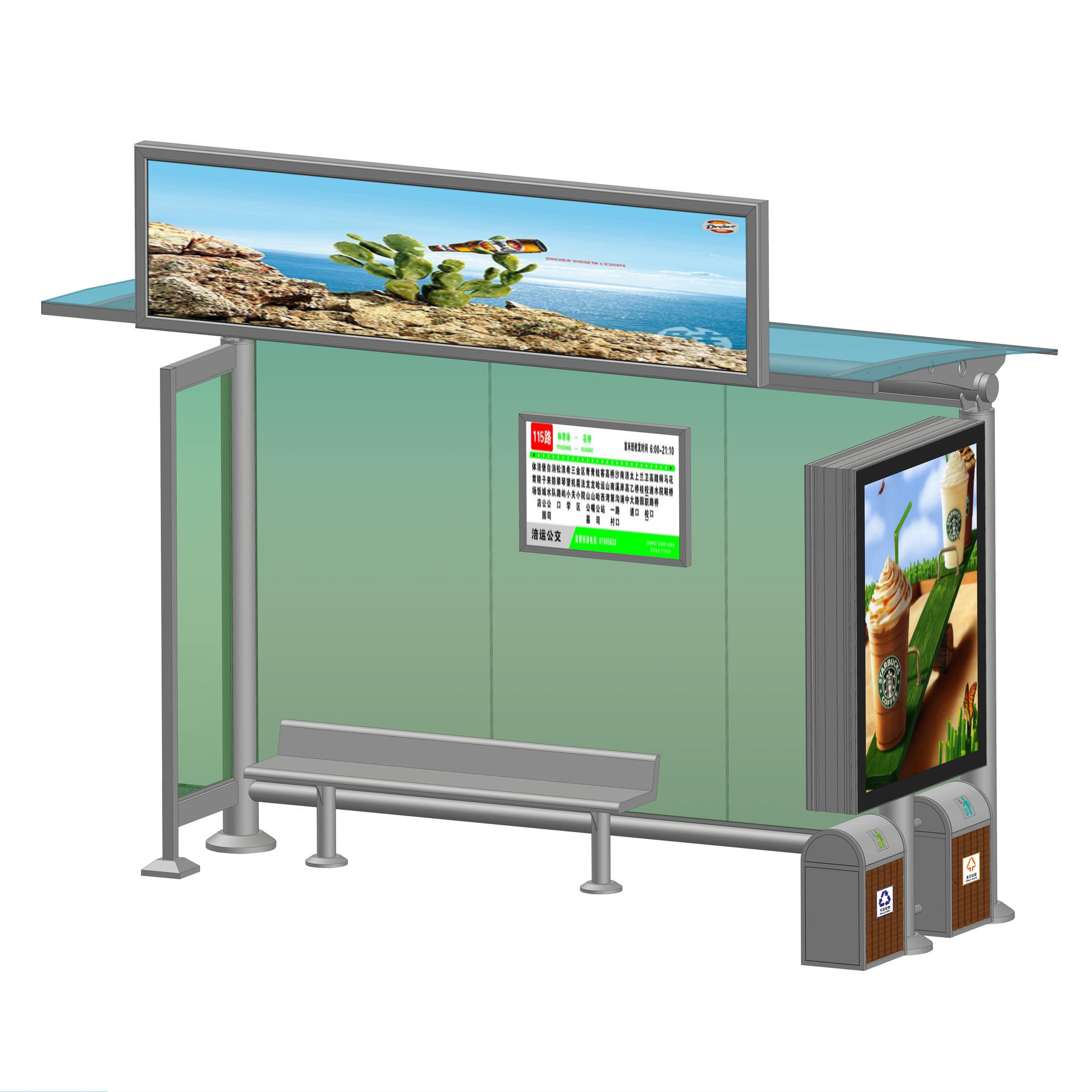 Metal Frame Advertising Lightbox with Stainless Steel Bus Shelter