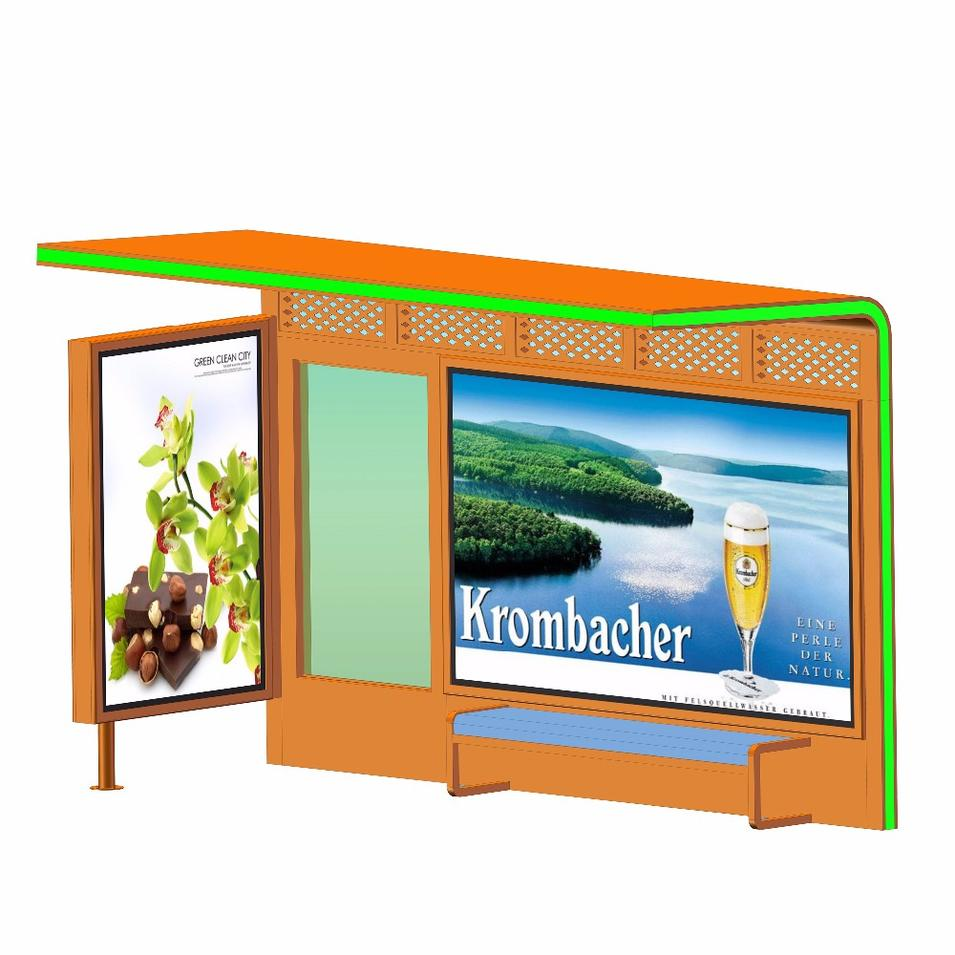 Outdoor Furniture Solar Power Metal Bus Stop Shelter