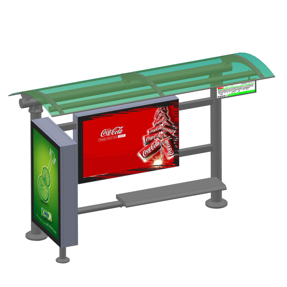 Outdoor waterproof pc board stainless steel bus stop shelter