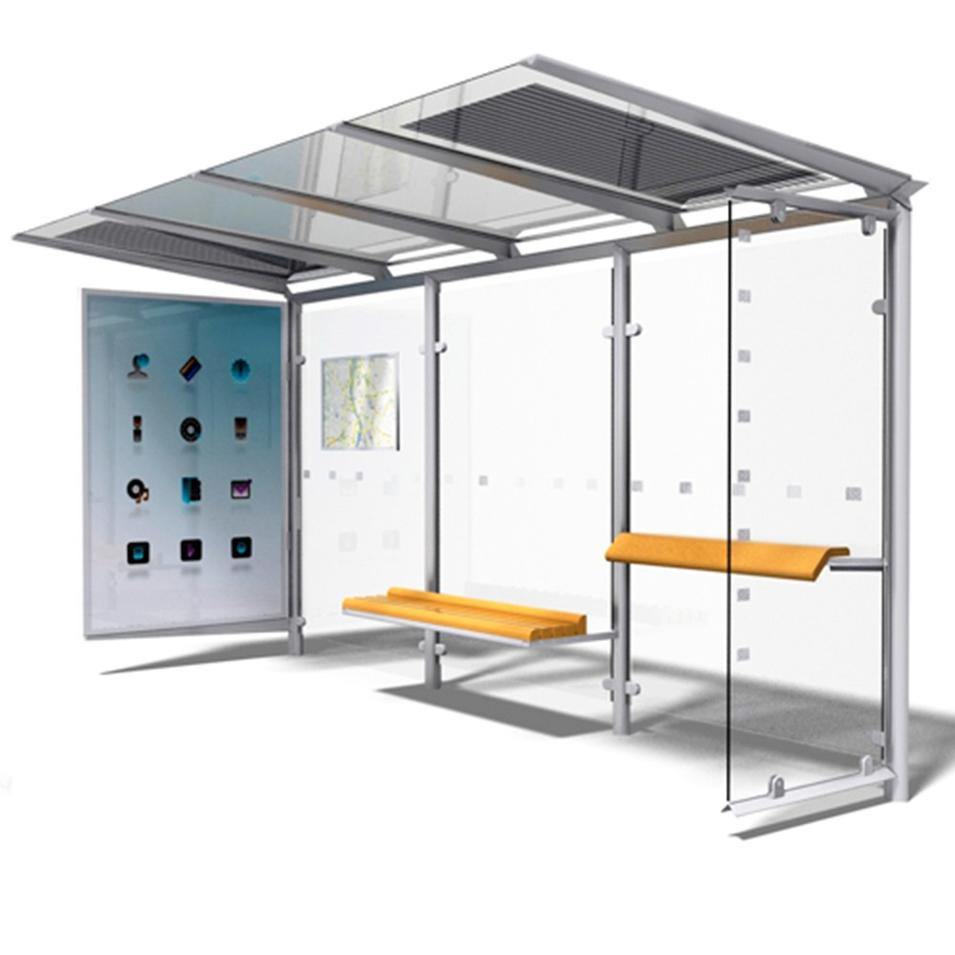 Prefabricate Modern Stainless Steel Bus Stop Shelter Design