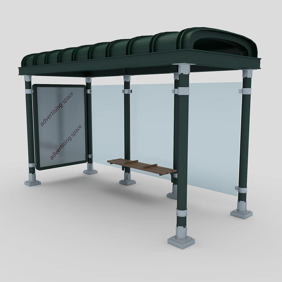 New design Steel Structure Shelter Public Universal Metal Bus Stop Shelter