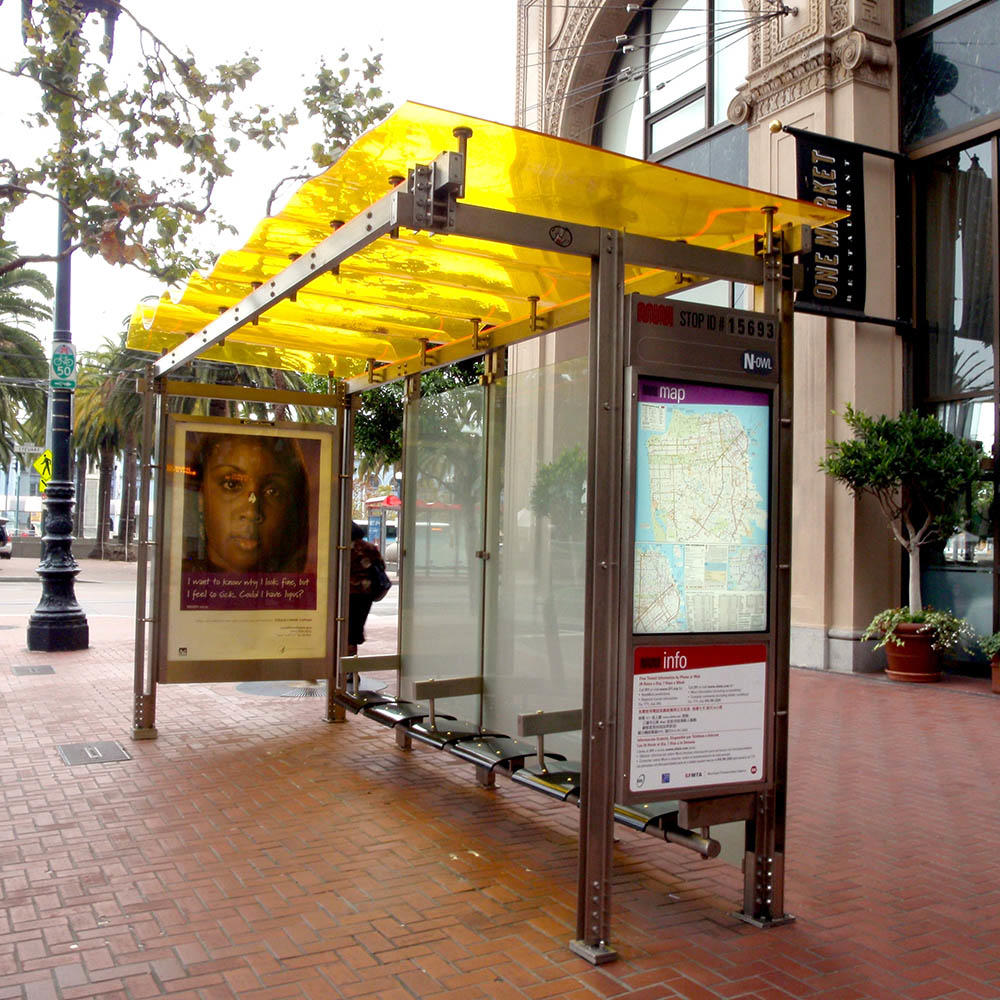 Outdoor bus stop shelter for sale